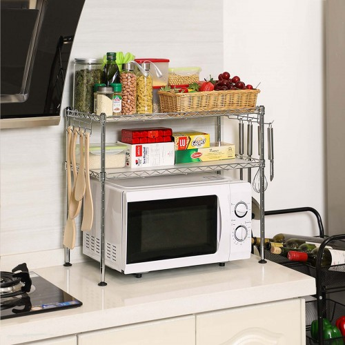 COSWE supporto per forno a microonde 2 ripiani ripiano in metallo per microonde Black 4 Tier mensola e organizer con 3 ganci Scaffale per forno a microonde