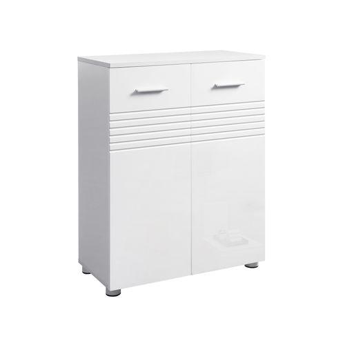 60 x 30 x 80 cm Bianco BBK140W01 Mobiletto Multiuso per Corridoio Ingresso Ripiano Regolabile VASAGLE Armadietto da Bagno Mobile da Bagno con Cassetto e Doppia Anta