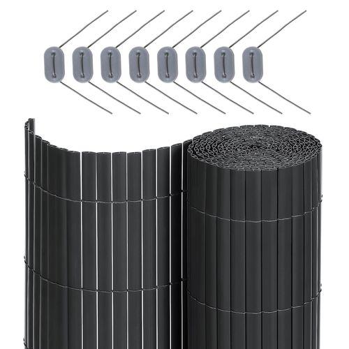 L x A SONGMICS Canniccio Frangivista in Plastica per Recinzione di Giardino Persiane Paravento per Esterno con Costola di Rinforzo Paravista di 7 x 0,8 m PVC Grigio GPF087G Terrazza e Balcone