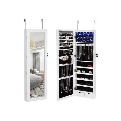 31 x 56 x 10 cm NOVA Armadietto Portagioie Serratura Magnetica da Montare a Parete Specchiera Bianco Armadio per Gioielli con Specchio