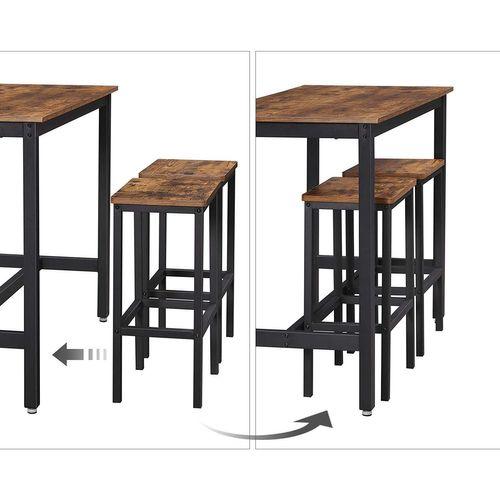 Vasagle Set Di Tavolo Da Bar Con 2 Sgabelli Da Bar Set Di Sedie Da Pranzo Con Tavolino Per Cucina Soggiorno Stanza Da Festa In Stile Industriale Marrone Vintage Lbt15x