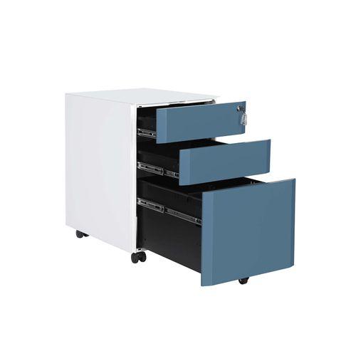 per Cancelleria e Cartelle Sospese Bianco OFC030W01 SONGMICS Cassettiera da Ufficio Mobiletto per Documenti con Rotelle e Serratura